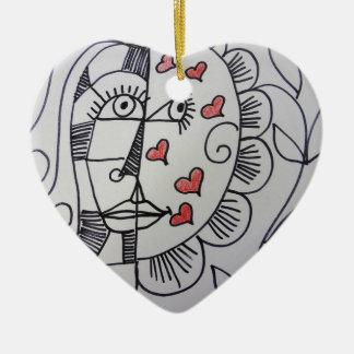 Flower Button Ceramic Heart Decoration