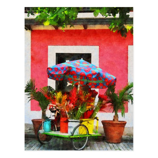 Flower Cart San Juan, Puerto Rico Postcard