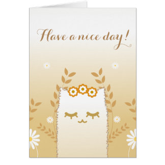 Flower Cat greetings card #2