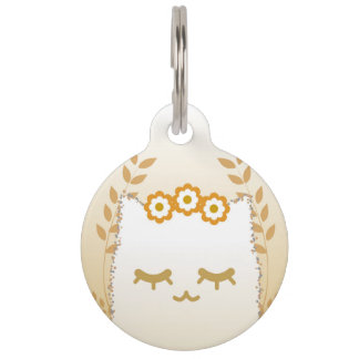 Flower Cat pet tag