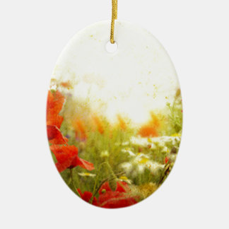 flower ceramic oval decoration