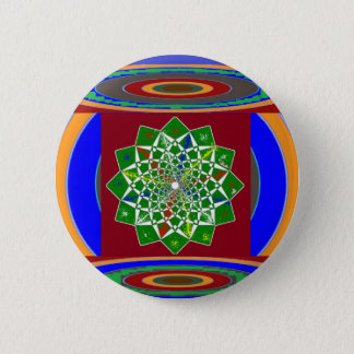 FLOWER CHAKRA Wheel Energy: Emerald Green 6 Cm Round Badge