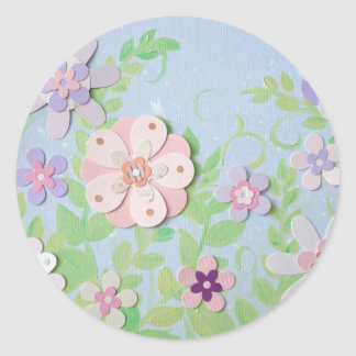 flower collage classic round sticker