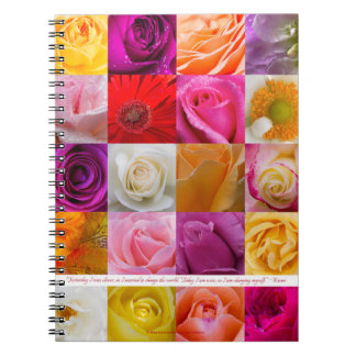 Flower Collage with Rumi quote - Spiral Notebook