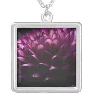 Flower Dahlia Silver Plated Necklace