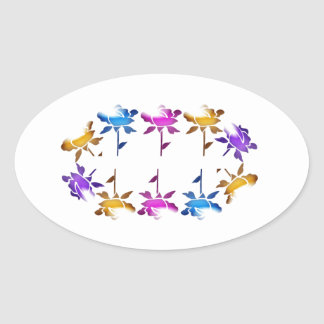 FLOWER DANCE pattern : AMAZING Graphics Oval Stickers