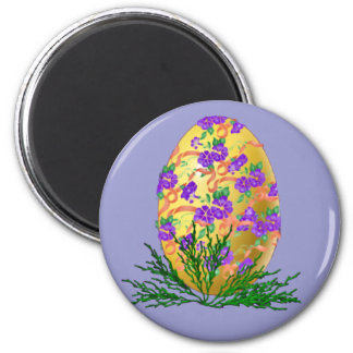 Flower Decorated Egg 6 Cm Round Magnet