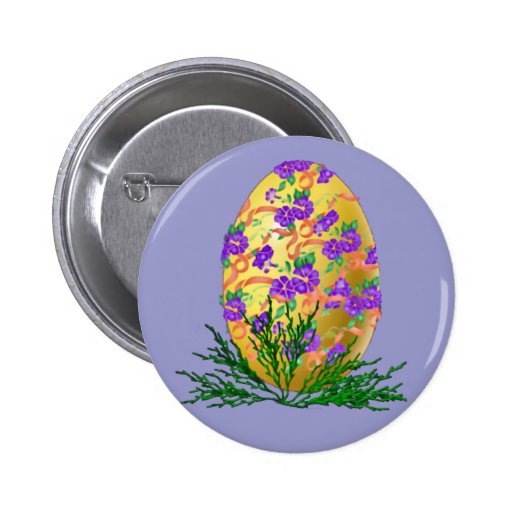 Flower Decorated Egg Button