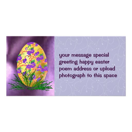 Flower Decorated Egg Photo Card Template