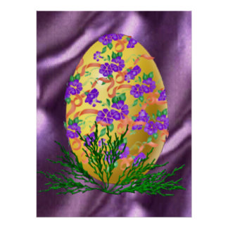 Flower Decorated Egg Posters