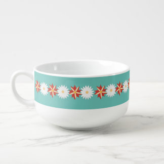 Flower decorated - romantic and vintage soup bowl with handle