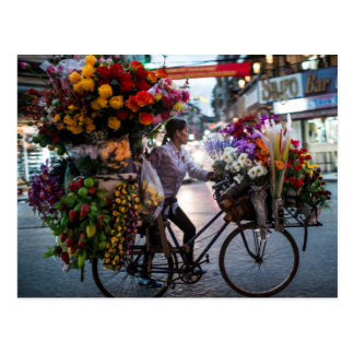 Flower Delivery Bicyclist Postcard