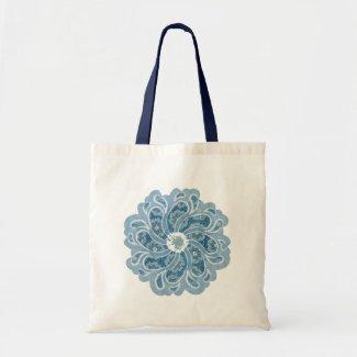 Flower & denim designer faded aqua bag bag