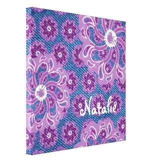 Flower & denim square canvas wrap wrappedcanvas