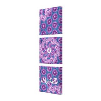 Flower & denim triptych (3 Piece) canvas wrap wrappedcanvas