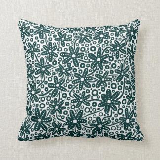 Flower Design - Dark Green on White Cushions