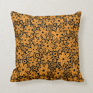 Flower Design - Light Orange on Black Cushion