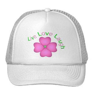 Flower Design - Live Love Laugh Cap