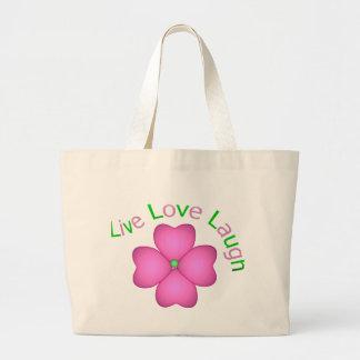Flower Design - Live Love Laugh Tote Bags