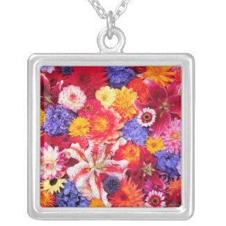 Flower design of Dalhia, Oriental Lilies, Square Pendant Necklace