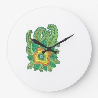 Flower design on a large wall clock