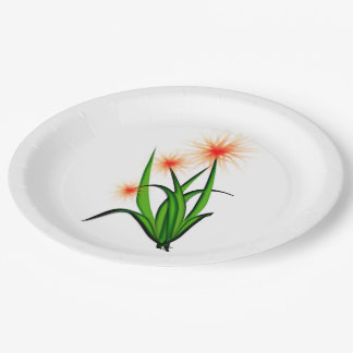 flower design on plate 9 inch paper plate