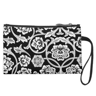 FLOWER DESIGN SUEDED MINI CLUTCH WRISTLET CLUTCH