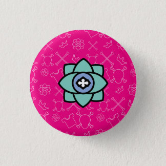 Flower design with a pink skull and bones pattern 3 cm round badge