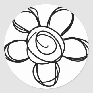 Flower Doodle Classic Round Sticker