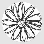 Flower doodle round stickers