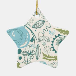 Flower Doodles Ceramic Star Decoration