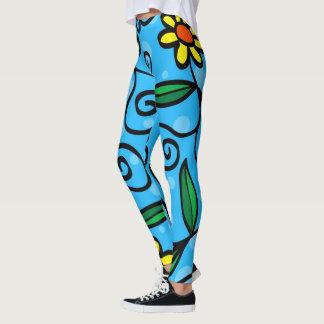 Flower Drawing Cartoon Drawing Blue Yellow Leggings