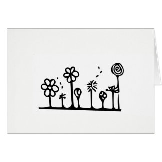 Flower Drawing Greeting Card - Blank Inside