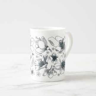 Flower Drawing on bone china mug
