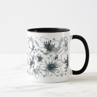 Flower Drawing on combo mug