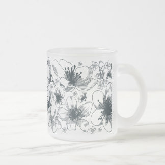 Flower Drawing on frosted mug