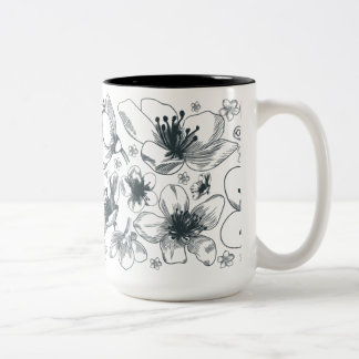 Flower Drawing on two color mug