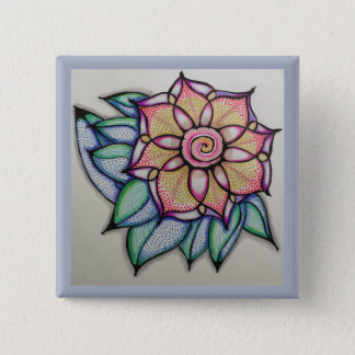 Flower Drawing pin, (2 inch) 15 Cm Square Badge