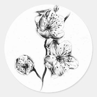 Flower drawing sketch art handmade round sticker