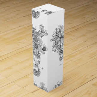 flower drawing wine box