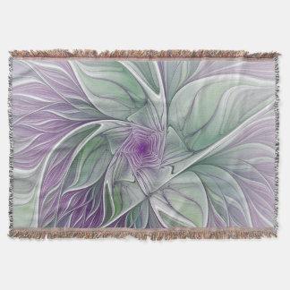Flower Dream, Abstract Purple Green Fractal Art