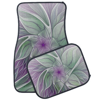Flower Dream, Abstract Purple Green Fractal Art Car Mat