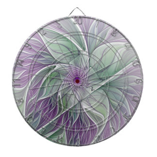 Flower Dream, Abstract Purple Green Fractal Art Dartboard