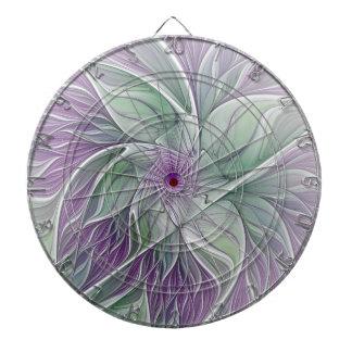 Flower Dream, Abstract Purple Green Fractal Art Dartboards