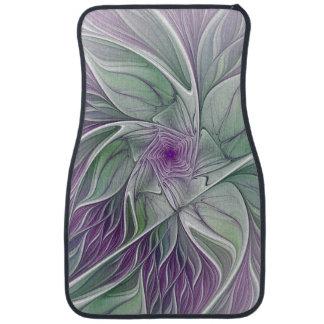 Flower Dream, Abstract Purple Green Fractal Art Floor Mat