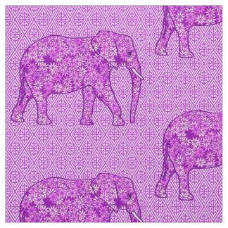Flower elephant - amethyst purple fabric