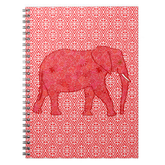 Flower elephant - deep red and coral notebook