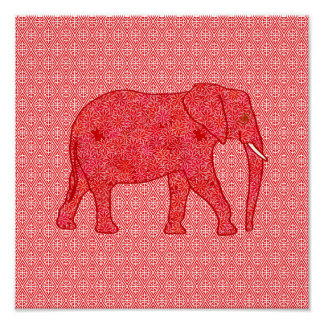 Flower elephant - deep red and coral print