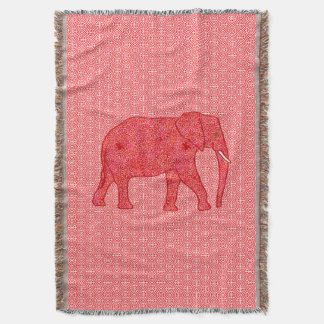Flower elephant - deep red and coral throw blanket