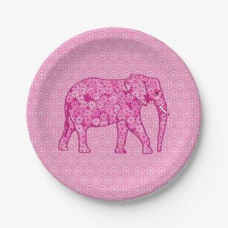 Flower elephant - fuchsia pink 7 inch paper plate